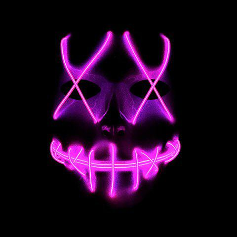 Halloween EL Wire Ghost Mask Cold LED Light up Toy - NEON PINK