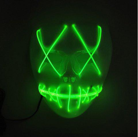Halloween EL Wire Ghost Mask Cold LED Light up Toy - JADE GREEN