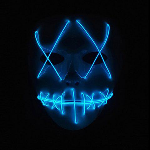 Halloween EL Wire Ghost Mask Cold LED Light up Toy - CRYSTAL BLUE