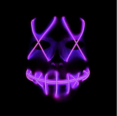 Halloween EL Wire Ghost Mask Cold LED Light up Toy - PURPLE