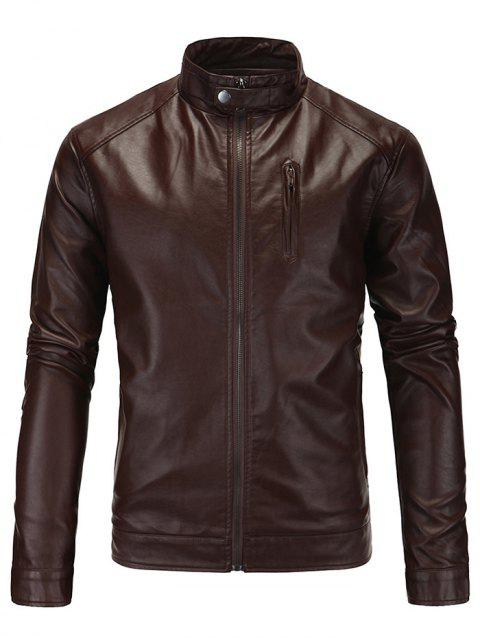 Men's Jacket Leather Stand Collar - BROWN XL