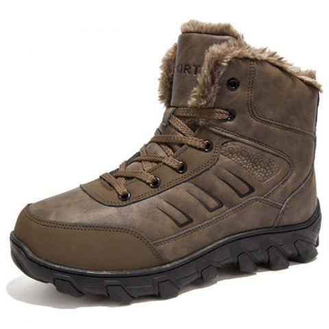 Trendy Durable Warm High Top Slip-on Boots - TAN EU 43