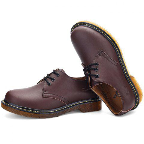 Men's Oxford Shoes Genuine Leather Sewing Thread - BROWN EU 45