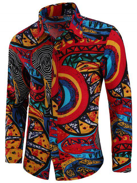 Men's Shirt Cotton and Linen Long Sleeve with Pattern - multicolor 4XL