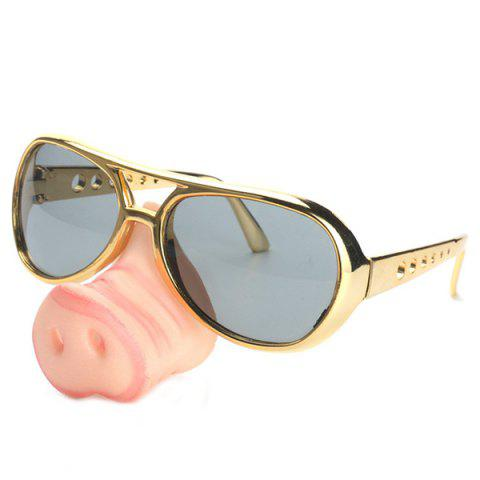 Men's Creative Funny Glasses Toy with Pig Snout Sunglasses for Party - multicolor A