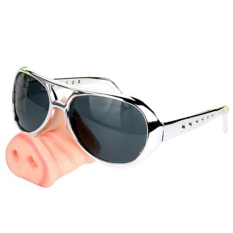 Men's Creative Funny Glasses Toy with Pig Snout Sunglasses for Party - multicolor E