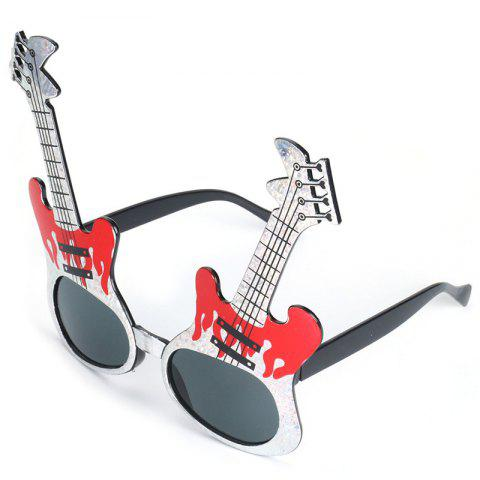 Men's Creative Guitar Motifs Funny Glasses Toy Sunglasses for Party - CRYSTAL CREAM