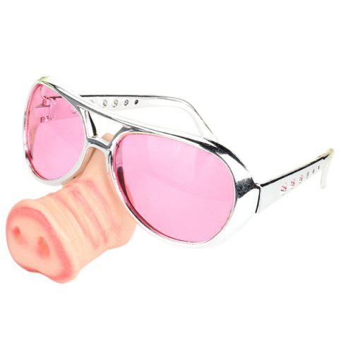 Men's Creative Funny Glasses Toy with Pig Snout Sunglasses for Party - multicolor D
