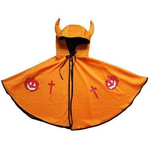 Cool Hooded Cape Halloween Cloak with Ox Horn for Kids - ORANGE