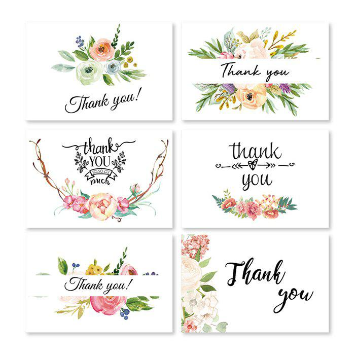 Thank You Greeting Card for Thanksgiving Christmas Birthday Gift 6pcs - multicolor A
