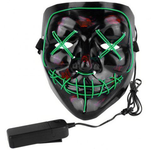 Halloween EL Wire Ghost Mask Cold LED Light up Mask Toy - GREEN