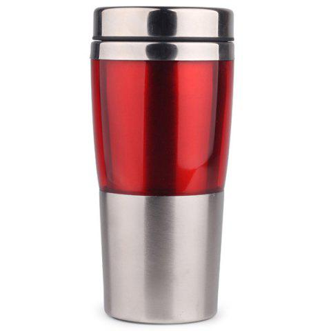 Heat Resistant Anti-shock Double-layer Stainless Steel Travel Mug - RED