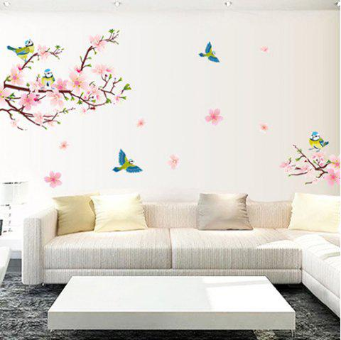 Removable Living Room TV Background Peachblossom Bird Flower Wall Sticker - PINK
