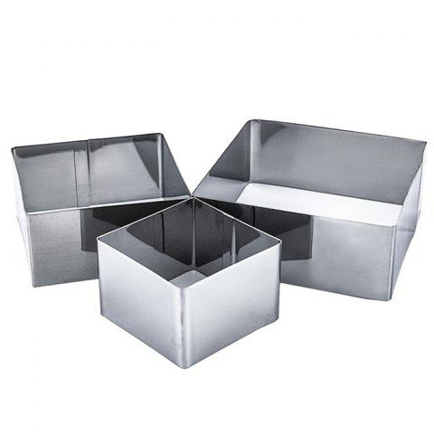 Stainless Stain Square Cake Mold for Cooking 3pcs - SILVER