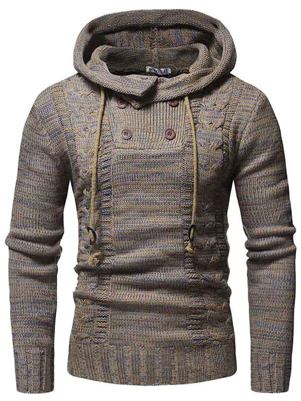WSGYJ Men Sweater Hooded Double Breasted - CAMEL BROWN L