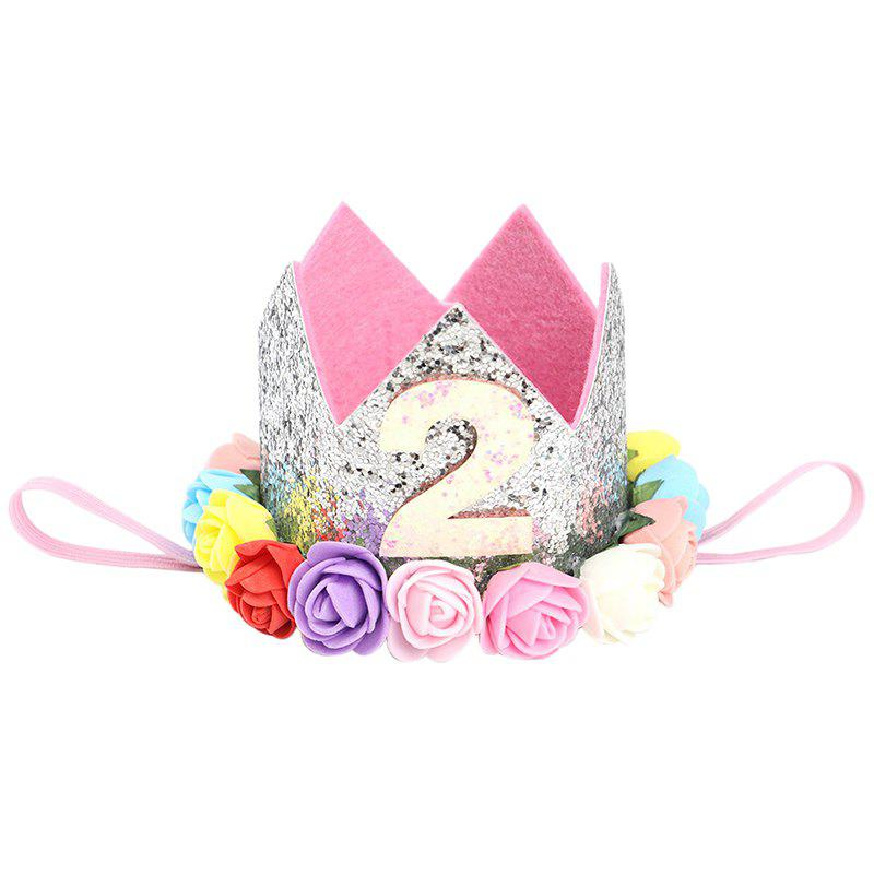 Rose Figure Crown Pattern Baby Hair Hoop for Birthday Party Performance Photograph Hairband - PINK 2