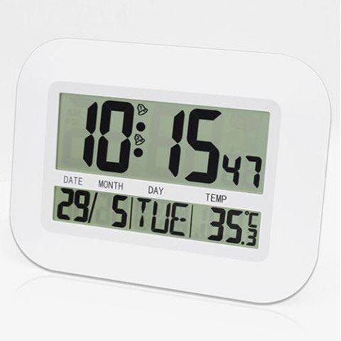 LCD Dispaly Digital Temperature Humidity Weather Station Clock - WHITE