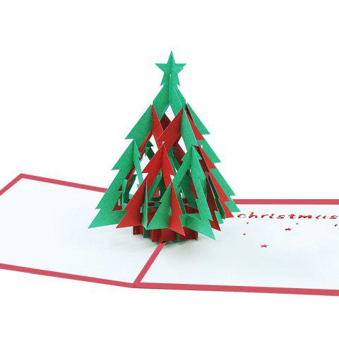 3D Christmas Tree Greeting Card for Benediction - multicolor A