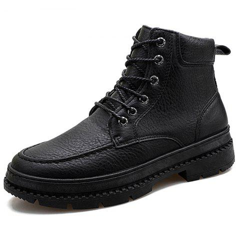 Men Boots Fashion High-top Lace-up Comfortable - BLACK EU 42