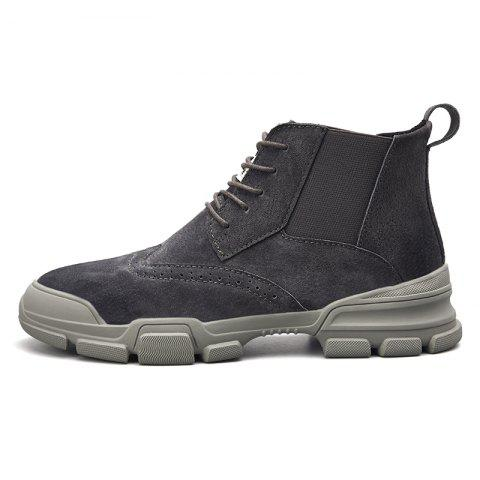 Men's Fashion Solid Color High Top Boots - GRAY EU 41