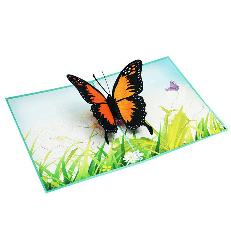 Creative 3D Butterfly Design Greeting Card - multicolor A