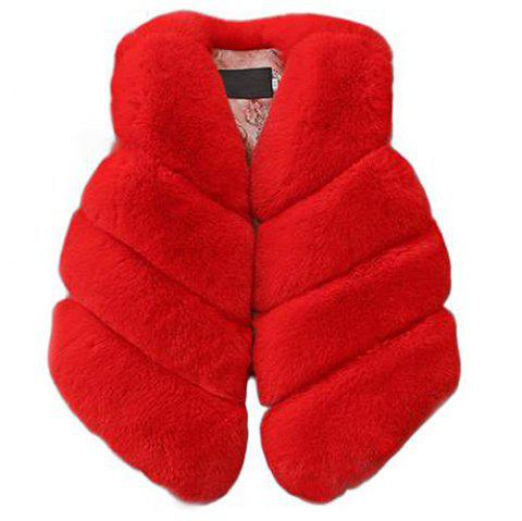 Girl Warm Faux Artificial Fur Vest Jacket Waistcoat - RED 110
