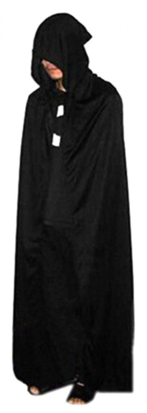 Halloween Death Cloak Hooded Cape Witch Adult Devil Robe Cosplay Party Prop - BLACK
