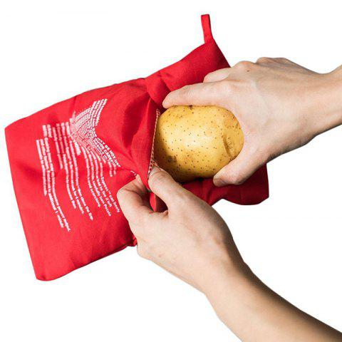 Microwave Oven Quick Fast Washable Potato Bag 4 Minutes Cooking Pouch - RED