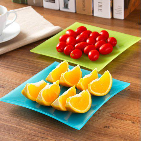 Multifunctional Square Snack Fruit Candy Plastic Dish Plate - BLUE
