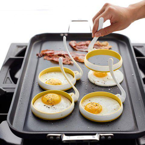 Omelette Maker Molds Round Shape Silicone Nonstick Frying Egg Moulds 2pcs - WHITE