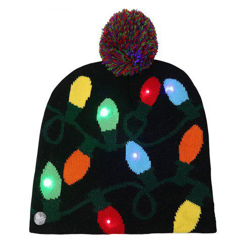 Ball Christmas LED Light Knit Hat - multicolor A LIGHT