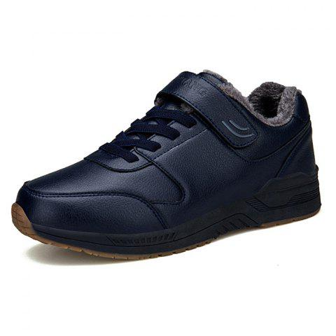 Men Sneakers Brushed Warm Winter Casual Shoes - DEEP BLUE EU 39