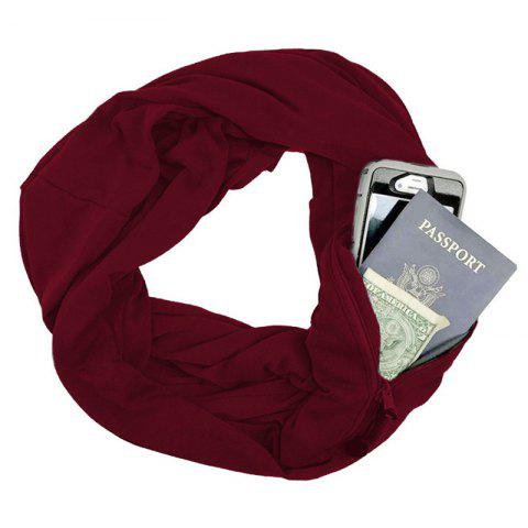 Unisex Couple Solid Color Warm Scarf Zipper Storage - RED WINE