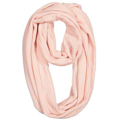 Unisex Couple Solid Color Warm Scarf Zipper Storage - PINK