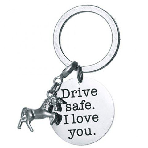 DIY Unicorn Stainless Steel Key Ring for Friends - SILVER