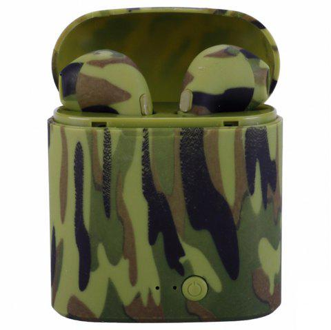 i7s Camouflage Printed TWS Wireless Bluetooth Earphones Mini Stereo Binaural Earbuds with Charging Dock and Mic - CAMOUFLAGE GREEN