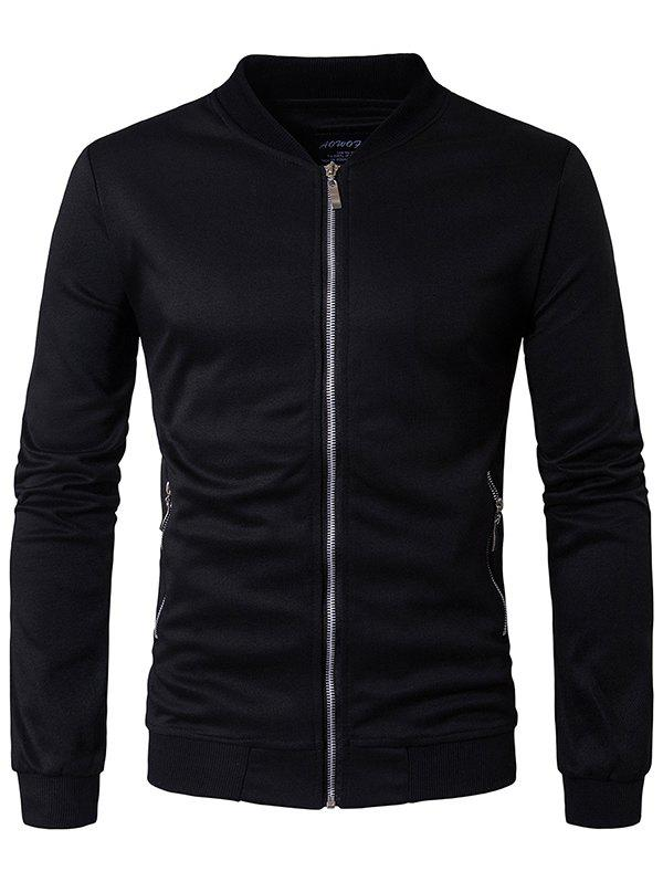 Fashion Solid Color Stand Collar Jacket - BLACK 2XL