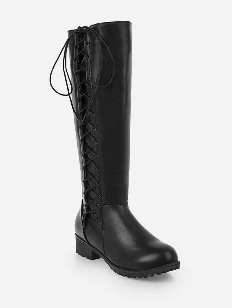 Plus Size Side Lace Up Knee High Boots - BLACK EU 42
