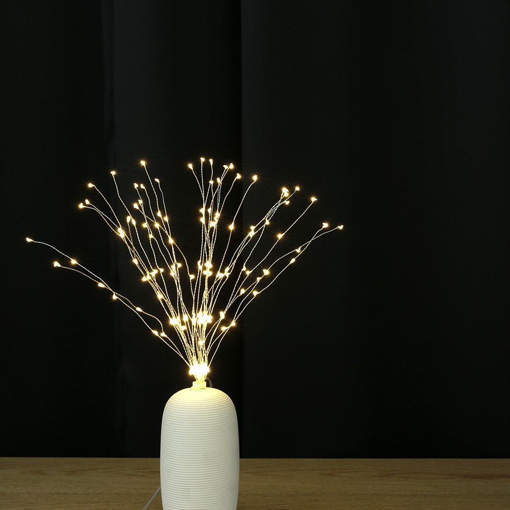 Utorch Fireworks Style Copper Line String Light for Decoration - SILVER WARM WHITE LIGHT