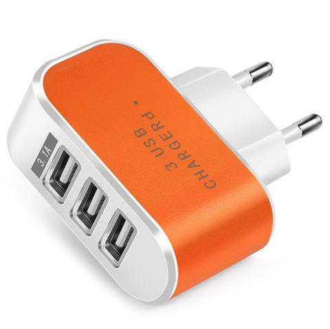 Candy Color 5V 3.1A 3 Port Power Adapter Home Travel USB Charger for Mobile Phone Tablet - ORANGE