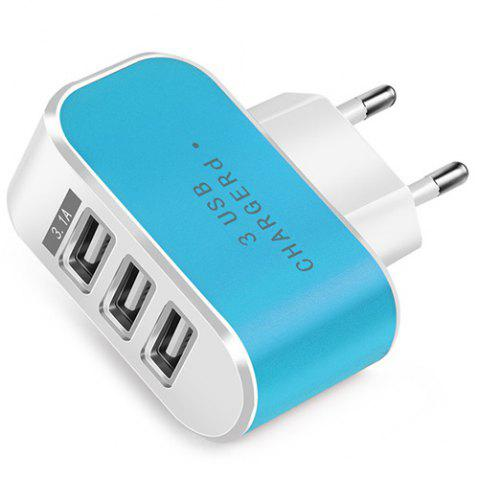Candy Color 5V 3.1A 3 Port Power Adapter Home Travel USB Charger for Mobile Phone Tablet - DEEP SKY BLUE
