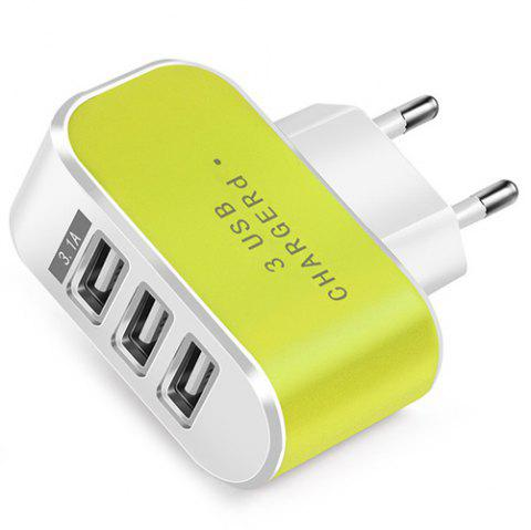 Candy Color 5V 3.1A 3 Port Power Adapter Home Travel USB Charger for Mobile Phone Tablet - TEA GREEN