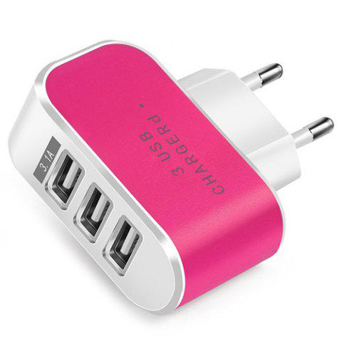 Candy Color 5V 3.1A 3 Port Power Adapter Home Travel USB Charger for Mobile Phone Tablet - ROSE RED