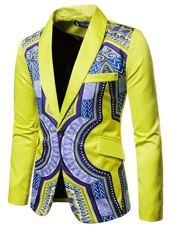 Fashion Suit Printing Men Blazer - YELLOW 3XL