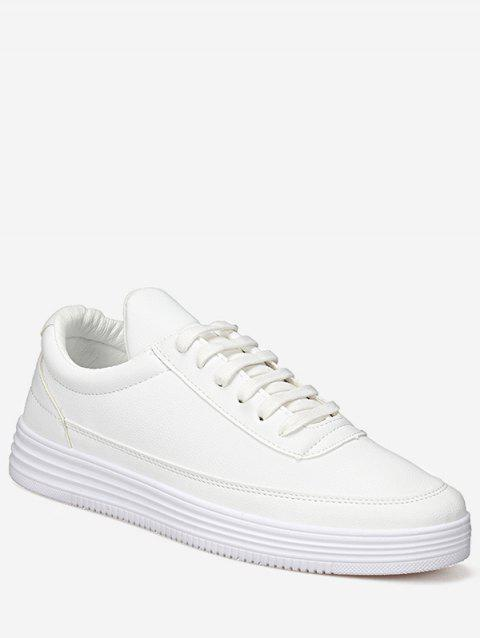 Casual Solid Lacing PU Leather Sneakers - WHITE EU 42