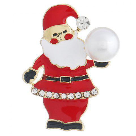 Santa Claus Alloy Brooch for Christmas - RED