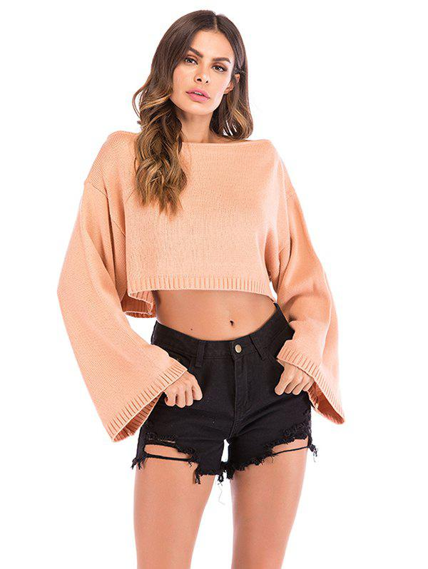 Women Board Neck Short Solid Color Pullover Sweater - PINK M