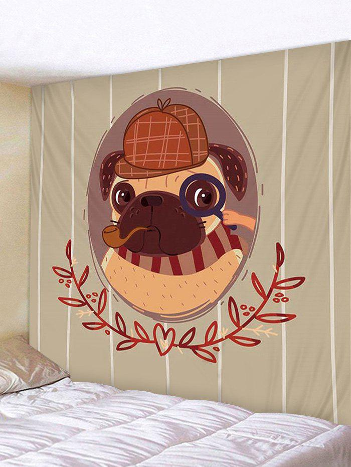 Cartoon Detective Pug Print Removable Wall Tapestry