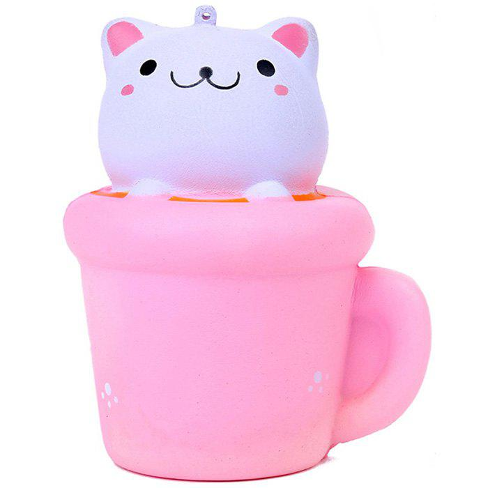 PU Cartoon Cat Squishy Toy for Decompress - PINK