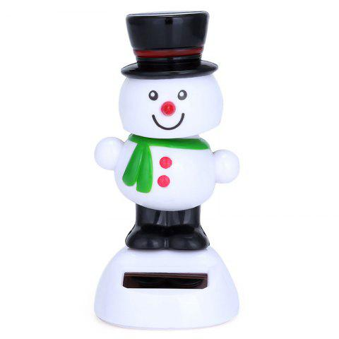 Cartoon Cute Style Solar Energy Black Hat Snowman Toy Decoration for Ornament - WHITE
